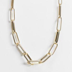 DesignB London - Guldfärgat halsband med breda sammanflätade länkar - Endast hos ASOS