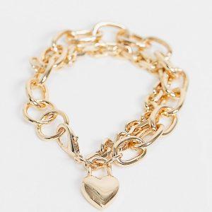 Reclaimed Vintage - Inspired - Guldfärgat armband i grov design med hjärtsmycke