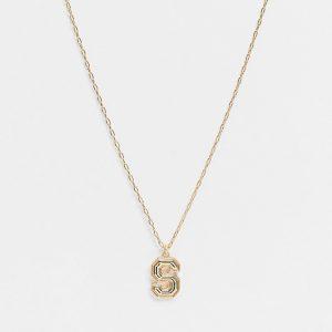"""ASOS DESIGN - Guldfärgad 2mm halskedja med """"S""""-bokstavshänge"""