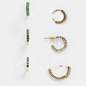 ASOS DESIGN - Guldfärgade creoler och ear cuff med gröna stenar i 3-pack