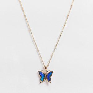 ASOS DESIGN - Guldfärgat halsband med fjärilshängsmycke med humörsten