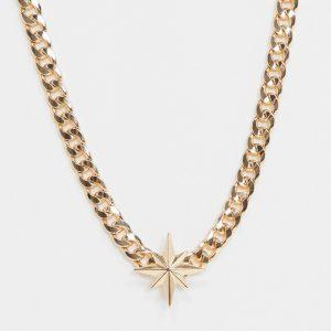 ASOS DESIGN - Guldfärgat halsband med pansarkedja och stjärna
