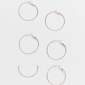 ASOS DESIGN - Roséguld-, silver- och guldfärgade tunna creoler, 3-pack-Olika färger