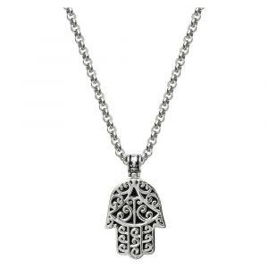 Men's Silver Hamsa Hand Necklace