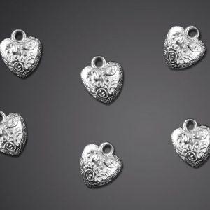 25 stk Silverfärgade Hjärt-Hängen Charms