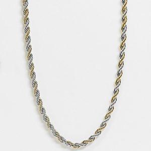 ASOS DESIGN Curve - 7 mm bred halskedja i repstil och blandade metaller-Olika färger