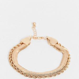 ASOS DESIGN Curve - Guldfärgat armband i flera kedjor med platt ormkedja i vintagestil