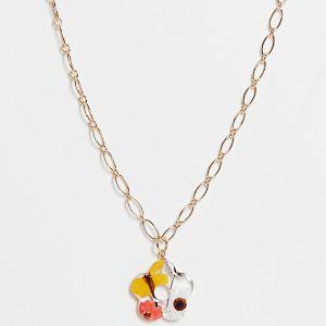 ASOS DESIGN Curve - Guldfärgat halsband med blomsmycke