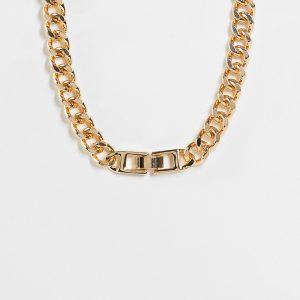 ASOS DESIGN Curve - Guldfärgat halsband med pansarkedja och spänne