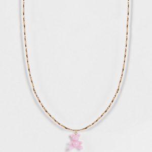 ASOS DESIGN Curve - Guldfärgat halsband med teddybjörnshänge i plast