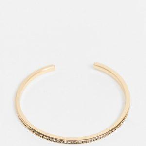 ASOS DESIGN Curve - Guldfärgat manschettarmband med strass