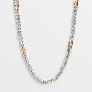 ASOS DESIGN - Flerfärgat halsband med strukturerad pansarkedja-Olika färger