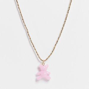 ASOS DESIGN - Guldfärgad halsband med teddybjörnshänge i plast
