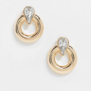 ASOS DESIGN - Guldfärgade örhängen med öppen cirkel och droppformad kristall