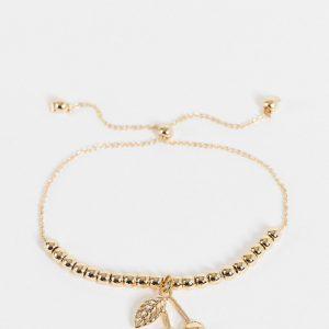 ASOS DESIGN - Guldfärgat armband med körsbärsberlocker