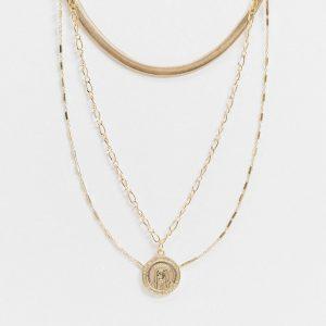 ASOS DESIGN - Guldfärgat, flerradigt halsband med mynthängsmycke