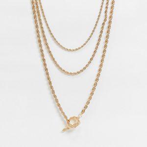 ASOS DESIGN - Guldfärgat halsband i flera rader med repkedja och T-stav