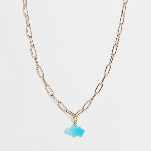 ASOS DESIGN - Guldfärgat halsband med molnhänge