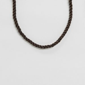 ASOS DESIGN - Guldigt halsband i repdesign med bambu och T-spänne