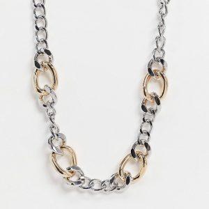 ASOS DESIGN - Halsband med pansarkedja i blandade färger-Flerfärgad