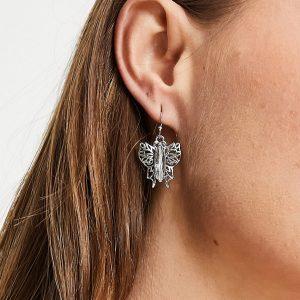 ASOS DESIGN - Hängande örhängen med fjärilar med strass-Silver