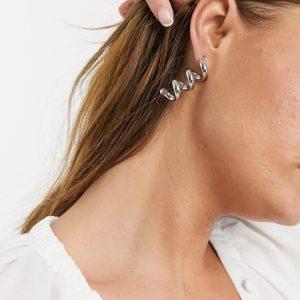 ASOS DESIGN - Silverfärgade örhängen med tubspiral
