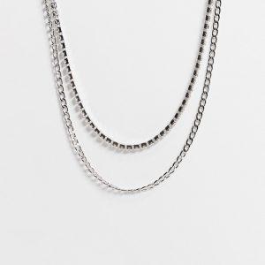 ASOS DESIGN - Silverfärgat halsband i flera rader med kristaller