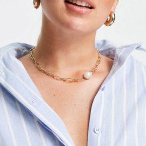 DesignB London - Exclusive - Guldfärgat halsband med kedjelänkar och pärlor