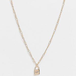Reclaimed Vintage Inspired - Vintageinspirerat guldfärgat halsband med låshänge med graverad stjärna
